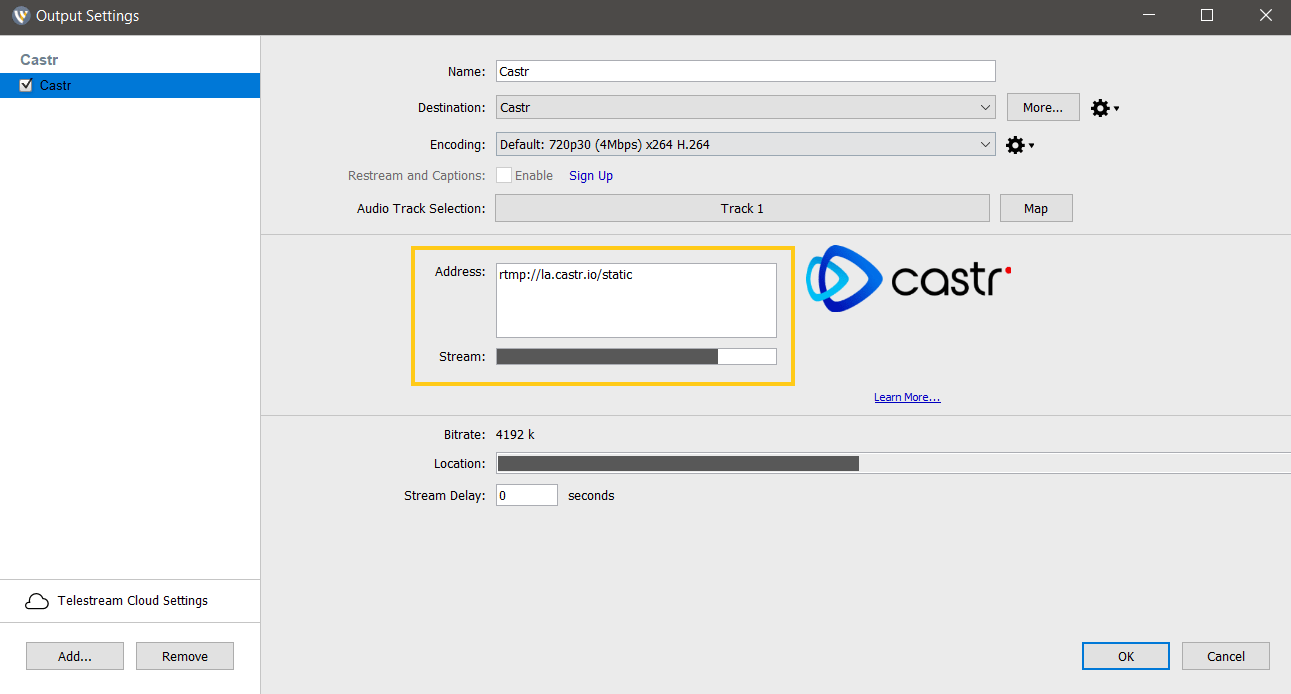 how to stream from wirecast to castr
